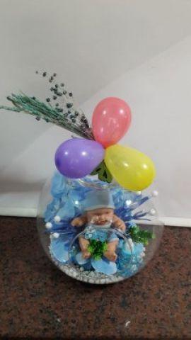 cam içinde bebekli yapay çiçek